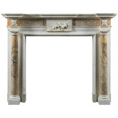 Imposing Statuary & Siena Marble Fireplace of 18th Century Palladian Design