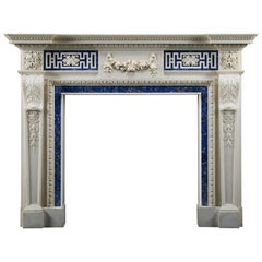 Impressive 18th Century Style Carved Statuary Marble Fireplace