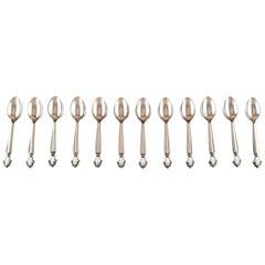 12 Georg Jensen Acanthus Sterling Silver, Tea Spoons
