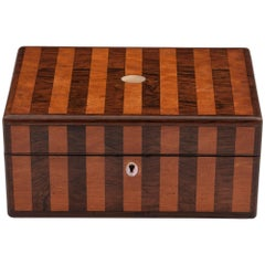 Antique Striped Mahogany and Satinwood Jewellery Box