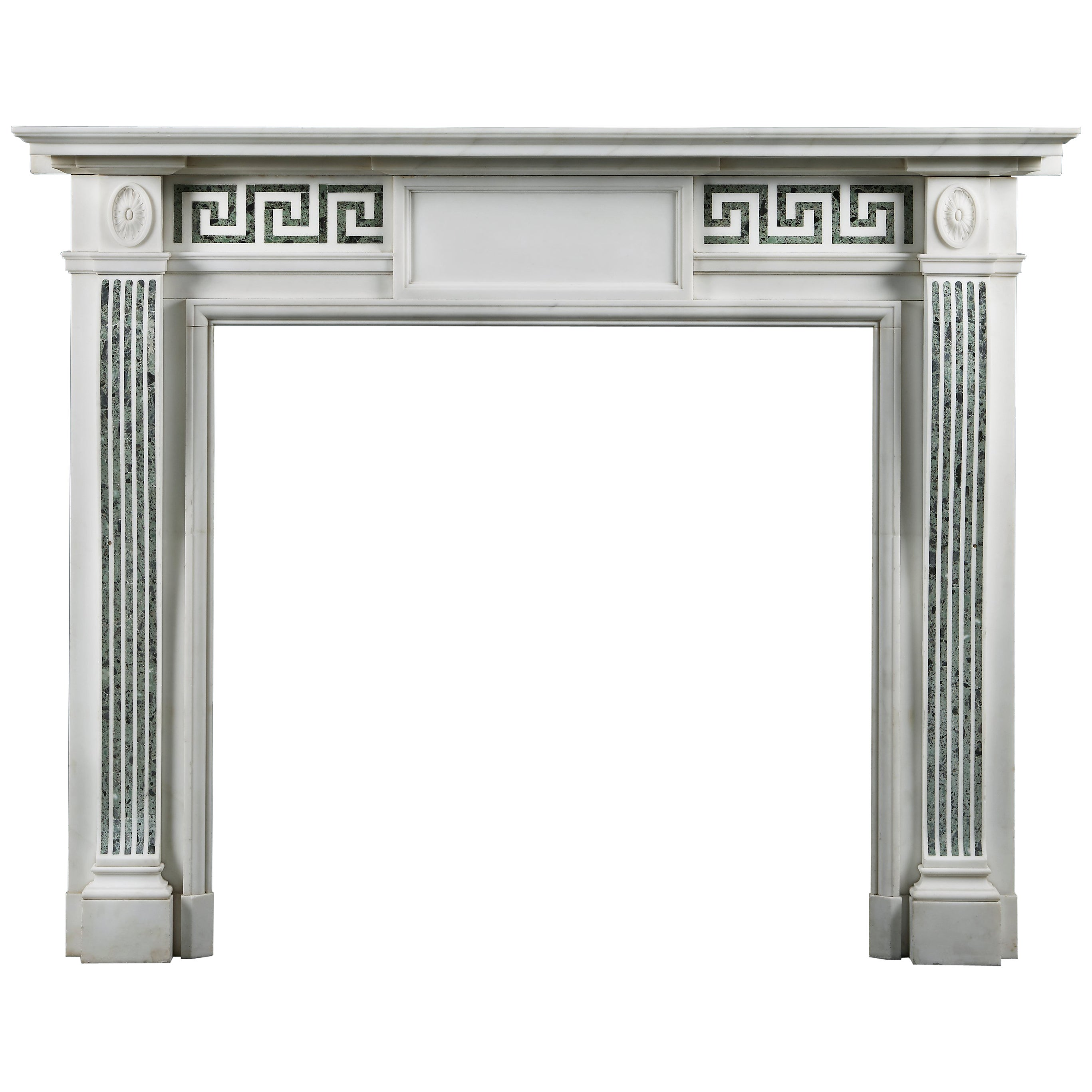 19th Century Statuary and Antico Verde Marble Fireplace