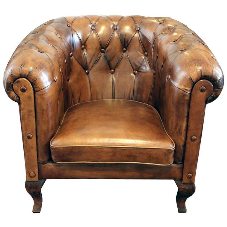 Art Deco Chesterfield Leather Club Chair For Sale