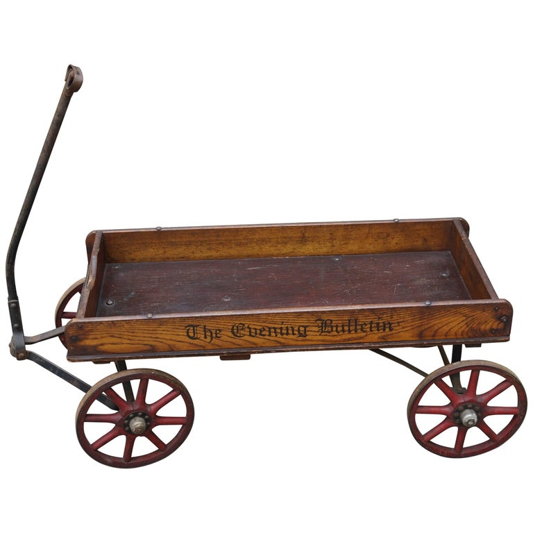 Antique American Newspaper Cart Great as a Novelty Magazine Stand & Drinks Table