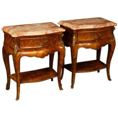 Pair of French Inlaid Bedside Tables in Rosewood with Marble Top, 20th Century