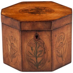 Georgian Antique Octagonal Sycamore Tea Caddy 18th Century