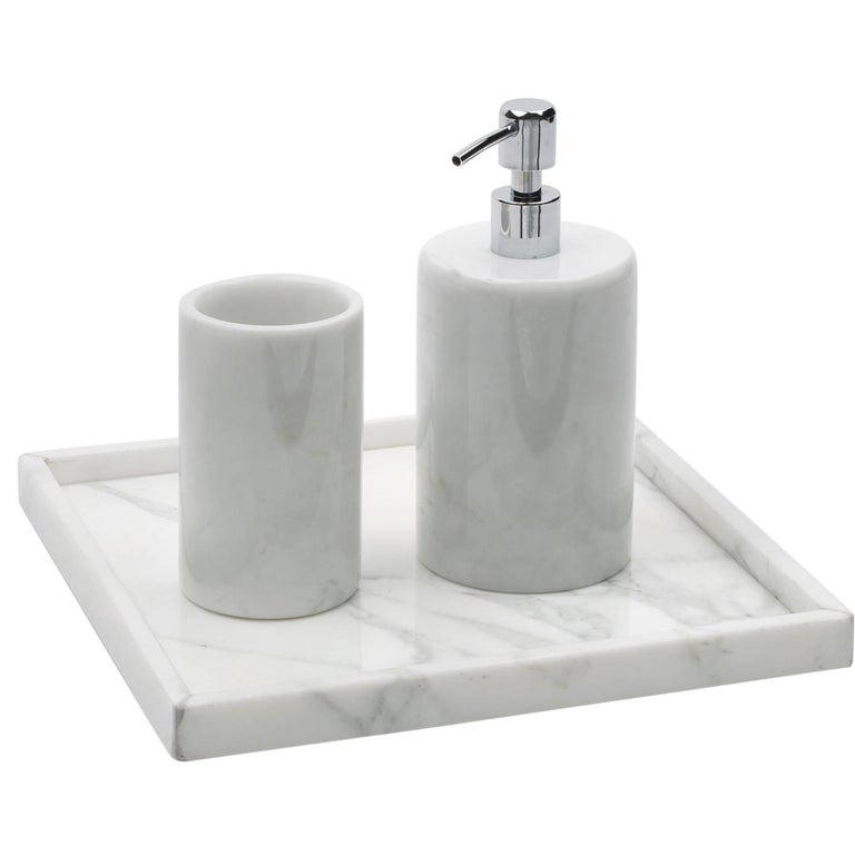 Rounded Set for Bathroom in White Carrara Marble