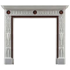 Mid 18th Century George III Neoclassical Statuary Marble Fireplace after Adam