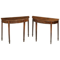 Pair of George III Period Bow Front Pier Tables