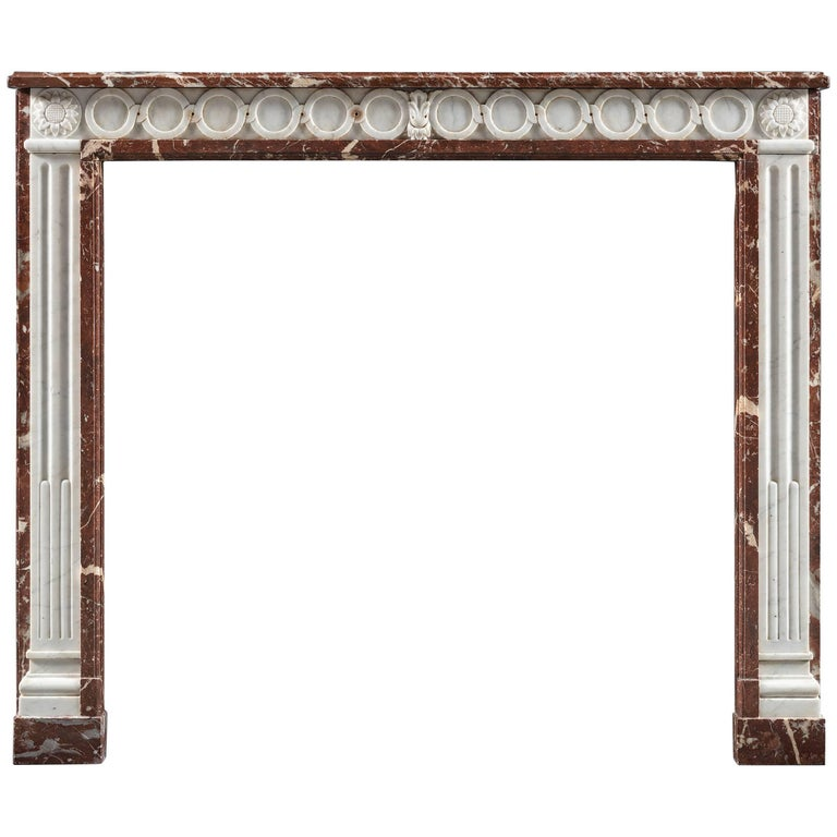 Antique 19th Century French Statuary and Rouge Royal Marble Fireplace