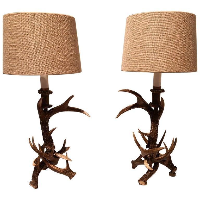 19. Jahrhundert Schwarzwald Paar Tischlampen mit Geweih Deutschland 1