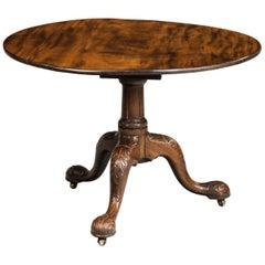 Rare George III Period Mahogany Irish Tilt Table