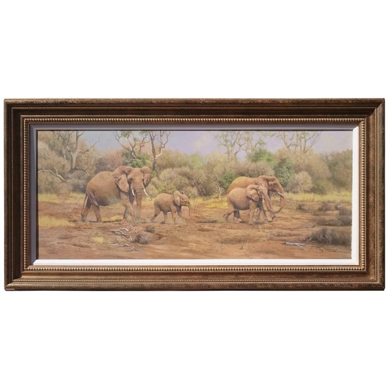 Painting of Elephants in an African Landscape by Tony Wooding