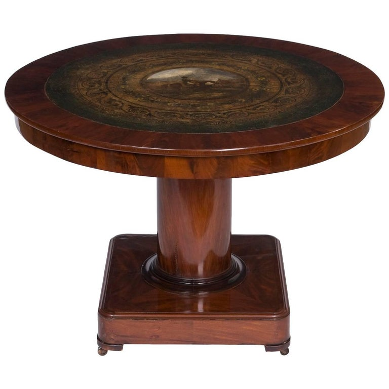 Rare Saloon Table with Painting from Belgium