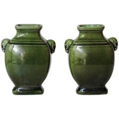 Theodore Deck Deep Green Enamel Faience Pair of Vases