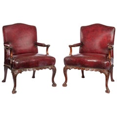 Late Victorian Mahogany Open Armchairs