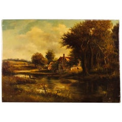 Dutch Signed Painting Oil on Canvas Landscape with Characters from 19th Century