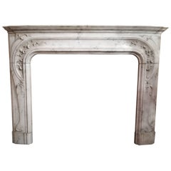Early 20th Century, French Art Nouveau White Statuary Marble Fireplace Mantel