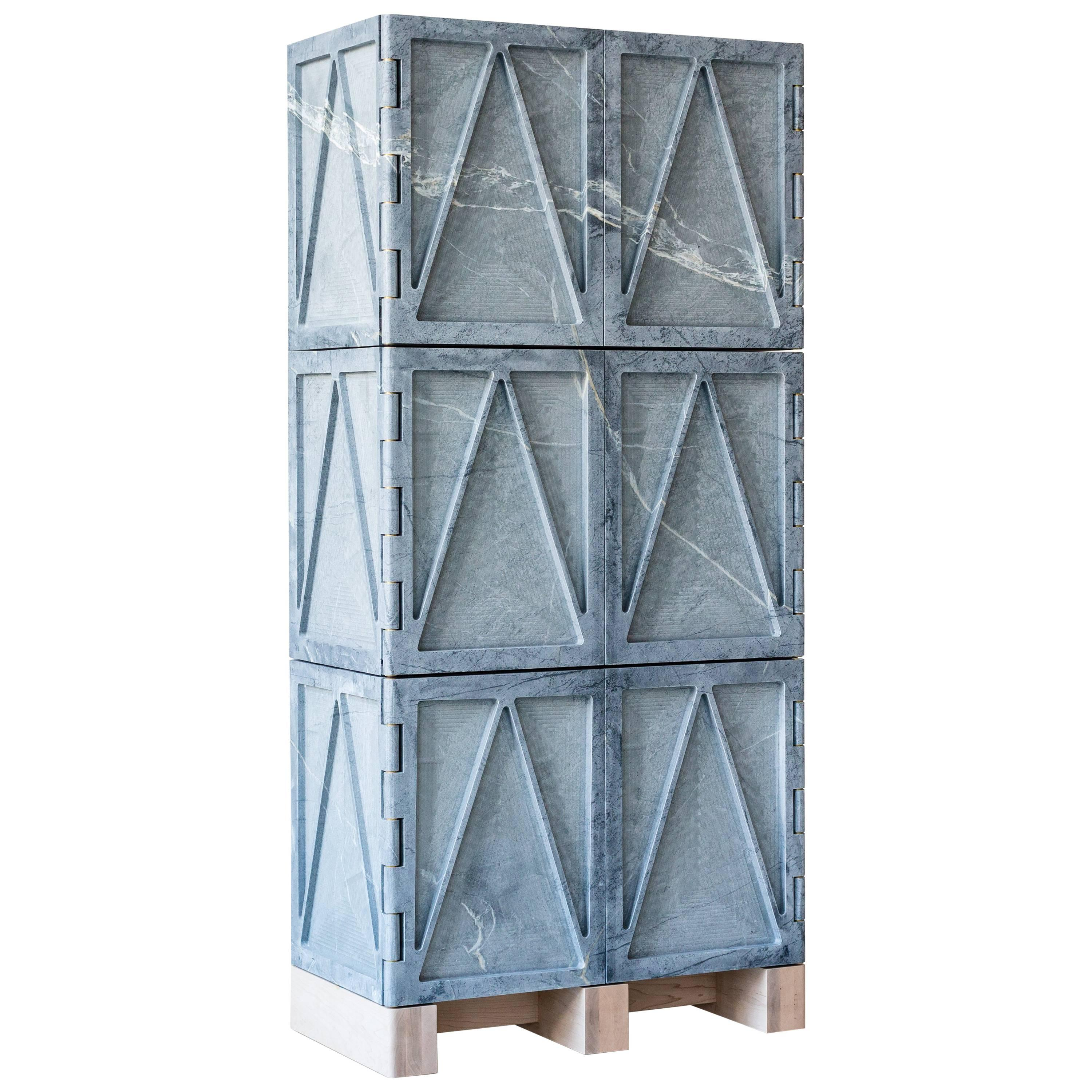 Limited Edition Relief Stone Cabinet in Soapstone by Fort Standard, in Stock