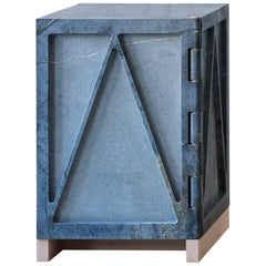 Single Door Relief Stone Cabinet in Soapstone by Fort Standard, in Stock
