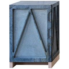 Single Door Relief Stone Cabinet in Soapstone by Fort Standard, in Stock