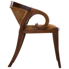 Vienna Secessionist Scrolled Mahogany and Leather Armchair, circa 1910