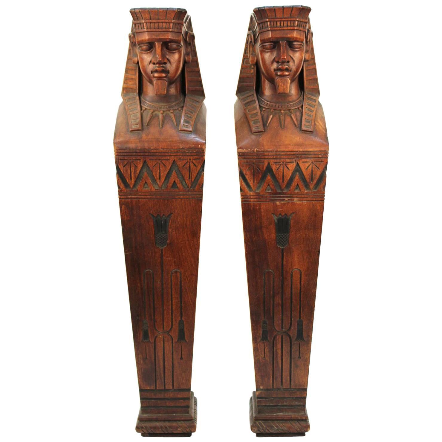 American Egyptian Revival Carved Wood Pair of Pharaoh Caryatids