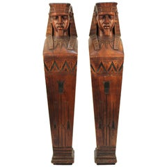American Egyptian Revival Carved Wood Pair of Pharaoh Caryatids