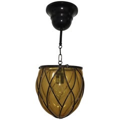 Iron and Amber Bubble Glass Hall Lantern Pendant
