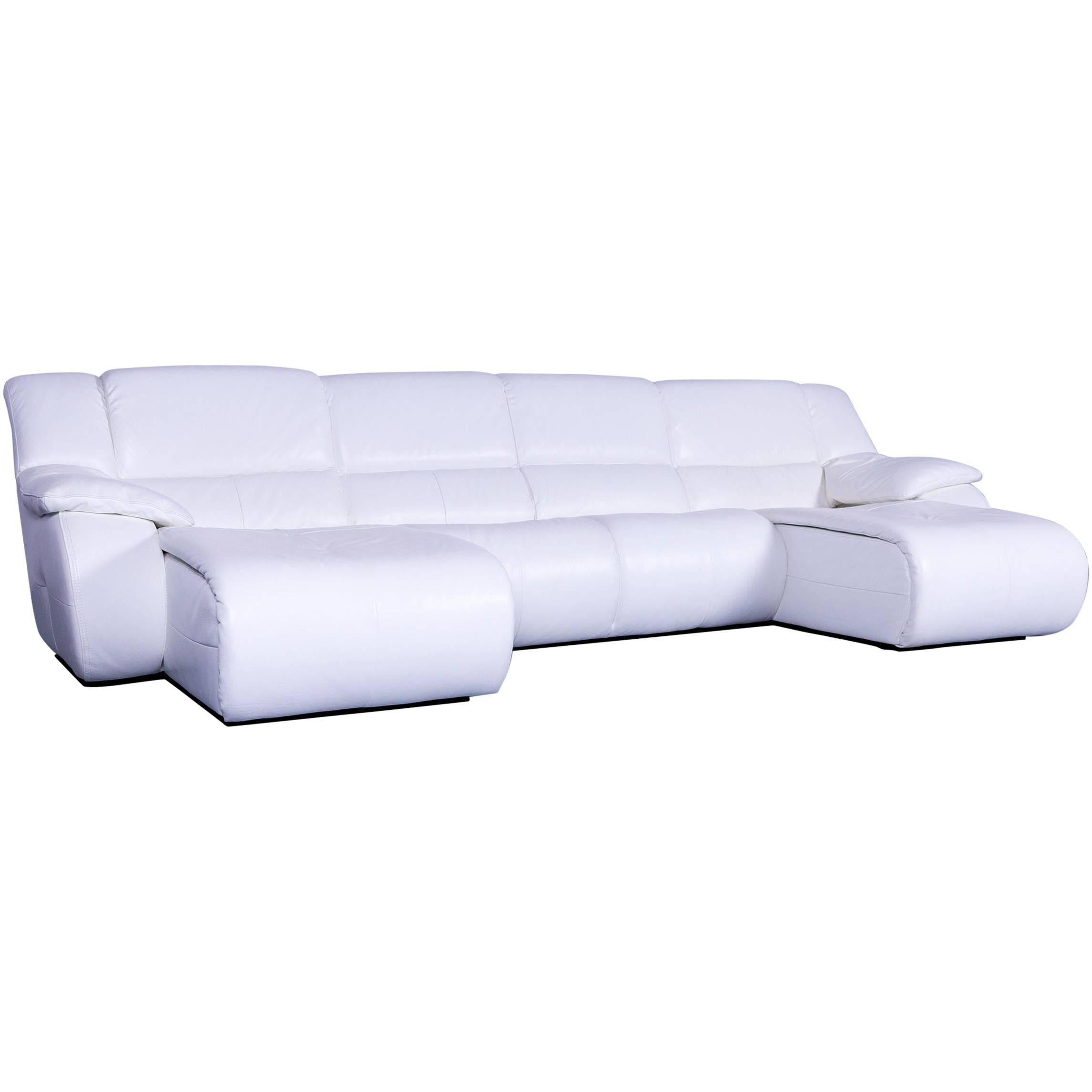 Chateau D`Ax Bamboo Leather Corner Sofa White Electric Recliner For Sale