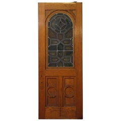 1870s Arched Stained Glass Swinging Wood Church Door