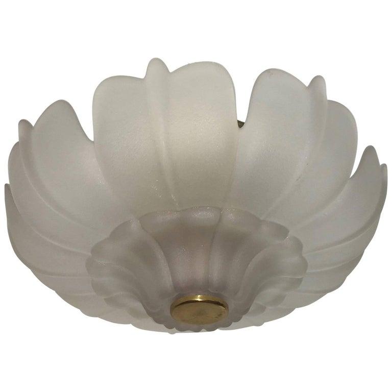Large Stylized Flower Blossom Glass Flush Mount For Sale