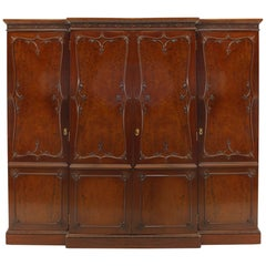 English Victorian Mahogany Armoire Cabinet