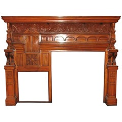 1880s Victorian Carved Whimsical Maple Mantel with Turned Columns and Corbels