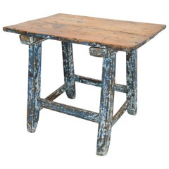 Pine Primitive Spanish Childs Table or Stool with Original Blue White Paint
