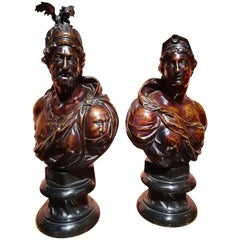 Early 19th Century Pair of Bronze Busts Brown Patina, Roman Gods, Mars & Diana