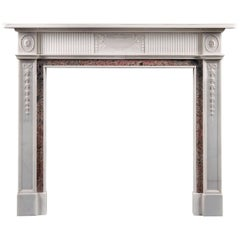 Antique Late 19th Century Statuary and Tiree Marble Fireplace