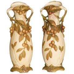 Pair of Art Nouveau Royal Dux Vases