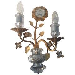 Maison Baguès Style Gold Leaf Crystal Sconce