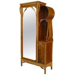 Leon Benouville French Art Nouveau Maple Armoire