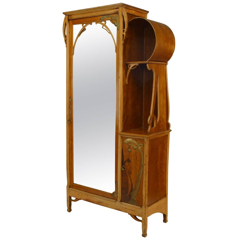 French Art Nouveau Maple and Inlaid Armoire Cabinet