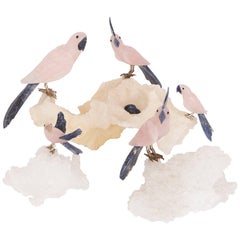 Set of Rosequartz, Silver and Mineral Specimen Bird Figures