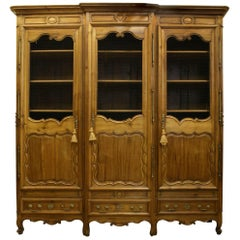 French Provincial Walnut Armoire Cabinet