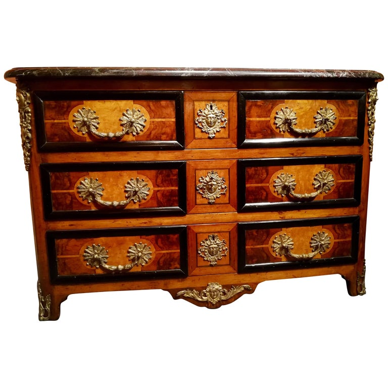 Commode Chest of Three Drawers Precious Wood Marquetry Veneer, Loupe De Bois