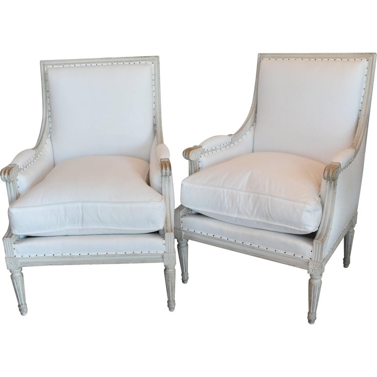 Pair of Late 19th Century Painted Gray Louis XVI Style French Bergere Armchairs