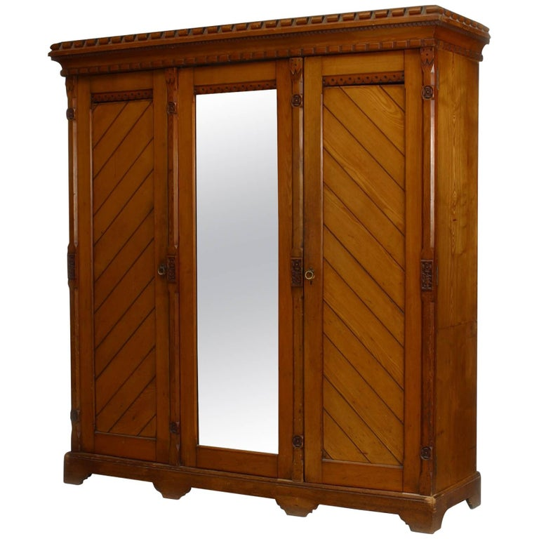 English Arts & Crafts Carved Pine Armoire For Sale