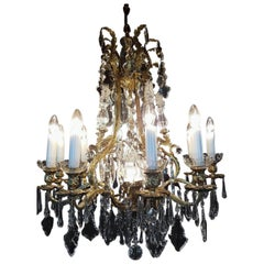 French Bronze and Crystal Chandelier, 1950