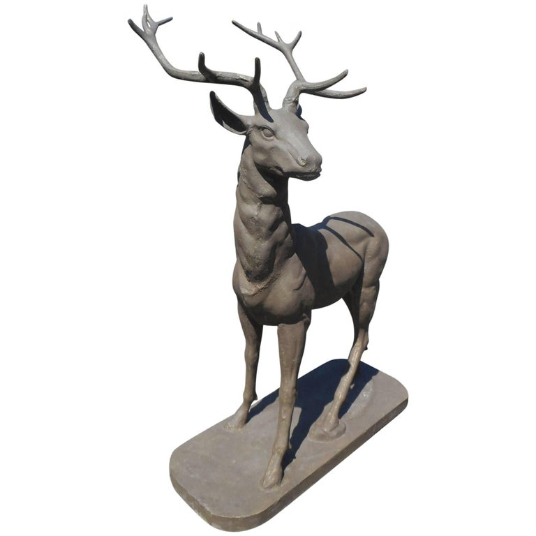 Cast Iron Lifesize Deer Statue with Large Antlers