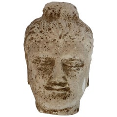 Early 20th Century Stone Buddha Head Sculpture