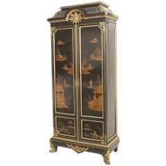 French Victorian Chinoiserie Decorated Armoire Cabinet