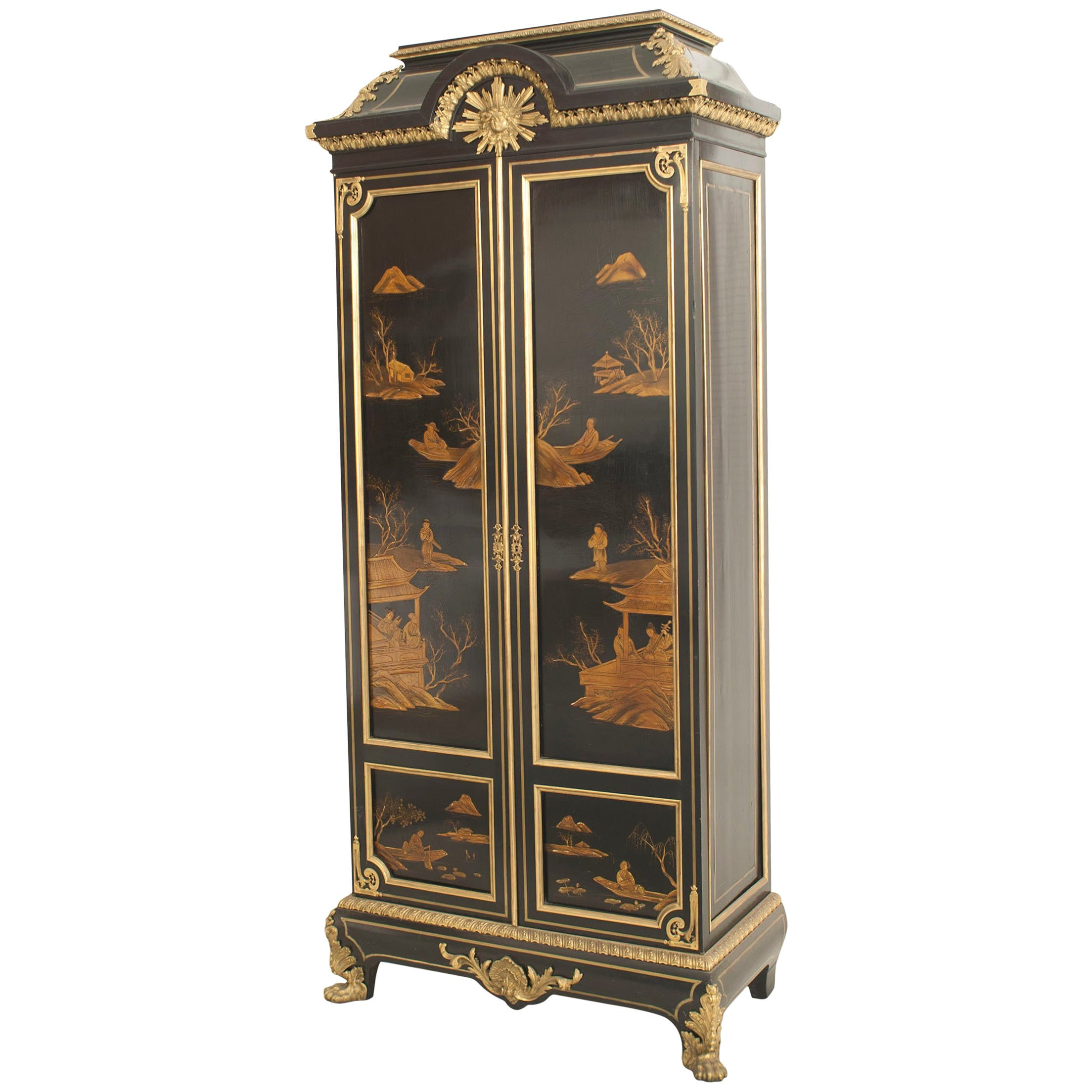 French Victorian Black Lacquered Chinoiserie Armoire